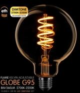Led Spiraal Globe 95mm Goud E27 8W 360LM