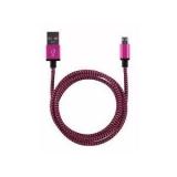 USB micro kabel 1m roze/zwart
